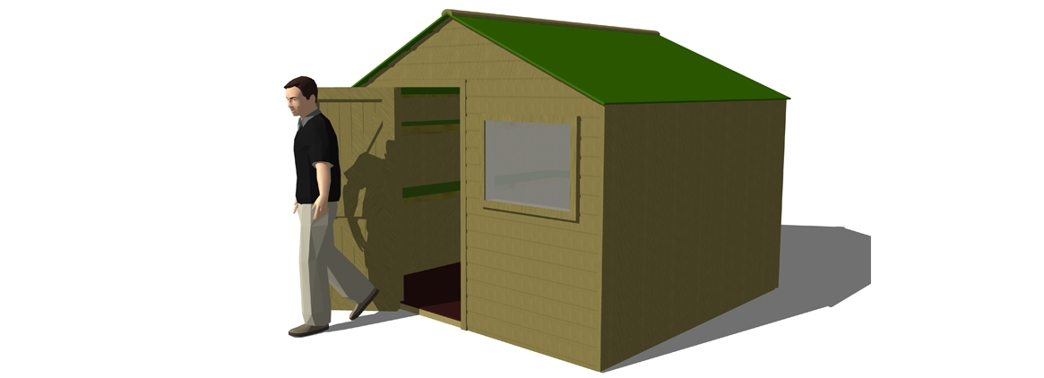 SH045 - 2.4m x 2.4m Shed with Shelving & Window