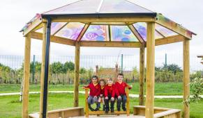 Coloured Perspex 5m Gazebo - Kings Cliffe Primary School